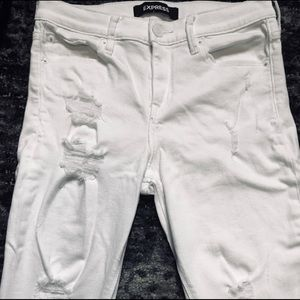 EXPRESS White Distressed Ankle Jeans 2